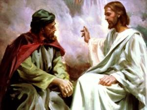 Jesus i samtale med Nikodemus om den nye fødsel.