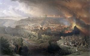 Jerusalems ødeleggelse. Tegning av David Roberts 1850